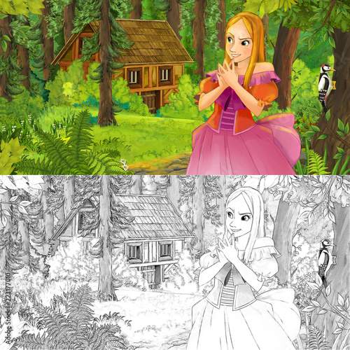 cartoon scene with woman princess in the forest near hidden wooden house - with artistic coloring page - illustration for children - 223177010