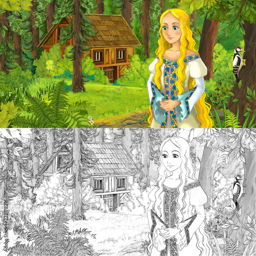 cartoon scene with woman princess in the forest near hidden wooden house - with artistic coloring page - illustration for children - 223178216