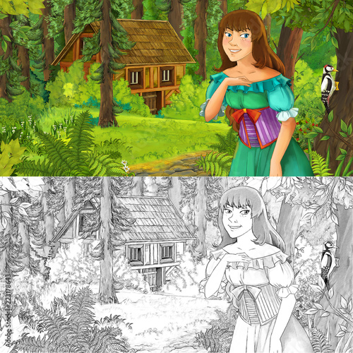 cartoon scene with woman princess in the forest near hidden wooden house - with artistic coloring page - illustration for children - 223178643