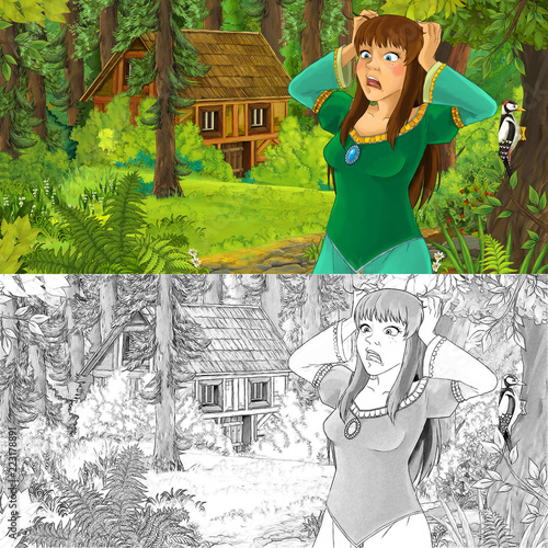 cartoon scene with woman princess in the forest near hidden wooden house - with artistic coloring page - illustration for children - 223178891
