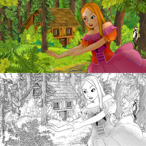 cartoon scene with woman princess in the forest near hidden wooden house - with artistic coloring page - illustration for children - 223179074