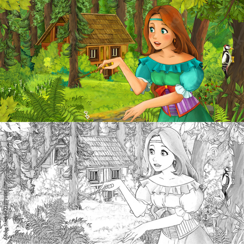 cartoon scene with woman princess in the forest near hidden wooden house - with artistic coloring page - illustration for children - 223179861