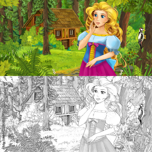 cartoon scene with woman princess in the forest near hidden wooden house - with artistic coloring page - illustration for children - 223180833