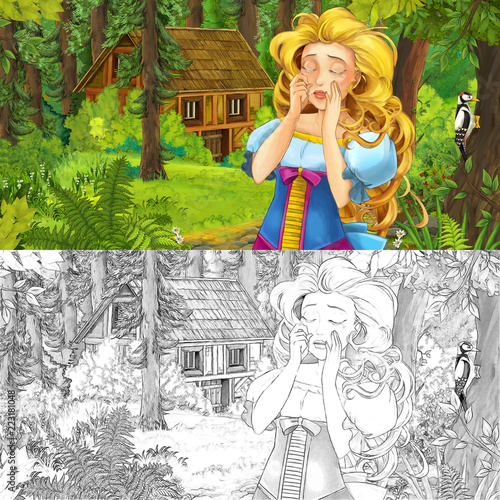 cartoon scene with woman princess in the forest near hidden wooden house - with artistic coloring page - illustration for children - 223181048