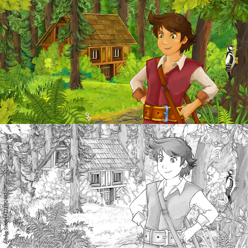 cartoon scene with young boy prince in the forest near hidden wooden house - with artistic coloring page - illustration for children - 223182462