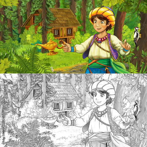 cartoon scene with young boy prince in the forest near hidden wooden house - with artistic coloring page - illustration for children - 223182657