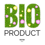 BIO Letters Made of Green Grass and Flowers - 223182885