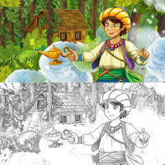 cartoon scene with young boy prince in the forest near hidden wooden house - with artistic coloring page - illustration for children