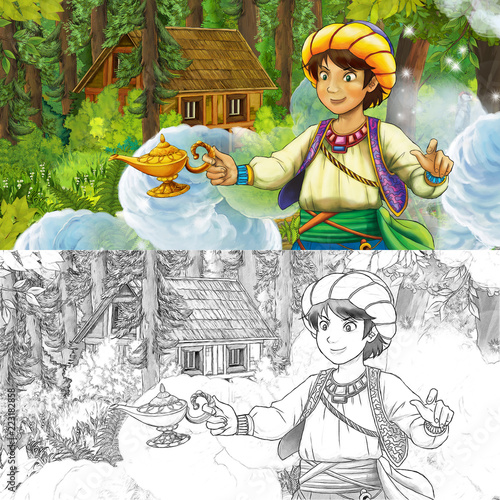 cartoon scene with young boy prince in the forest near hidden wooden house - with artistic coloring page - illustration for children - 223182858