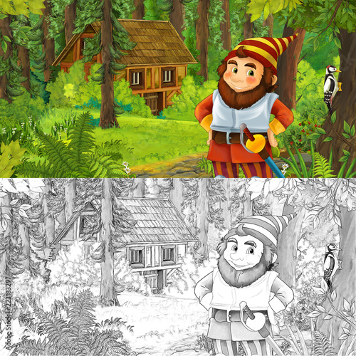 cartoon scene with man fantasy dwarf in the forest near hidden wooden house - with artistic coloring page - illustration for children - 223183297