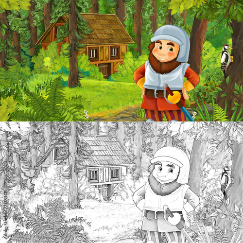 cartoon scene with man fantasy dwarf in the forest near hidden wooden house - with artistic coloring page - illustration for children - 223183411