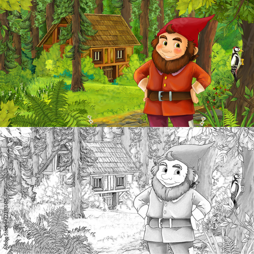 cartoon scene with man fantasy dwarf in the forest near hidden wooden house - with artistic coloring page - illustration for children - 223183615