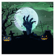 Hand of dead man from ground of graveyard vector illustration. Angry illuminated carved pumpkin, necked tree, gravestones at night. Horror concept - 223184400