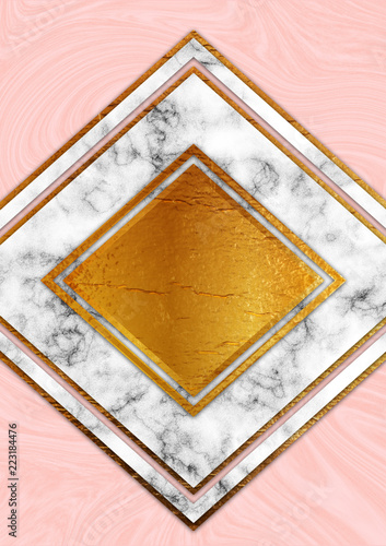 Golden foil and marble - 223184476