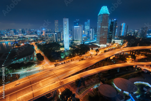 Singapore city skyline. Aerial view to illuminated city at night