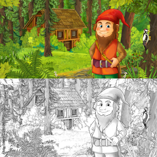cartoon scene with man fantasy dwarf in the forest near hidden wooden house - with artistic coloring page - illustration for children - 223185048
