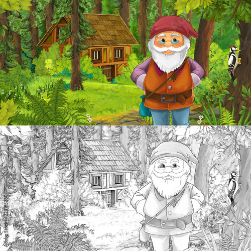 cartoon scene with man fantasy dwarf in the forest near hidden wooden house - with artistic coloring page - illustration for children - 223185280