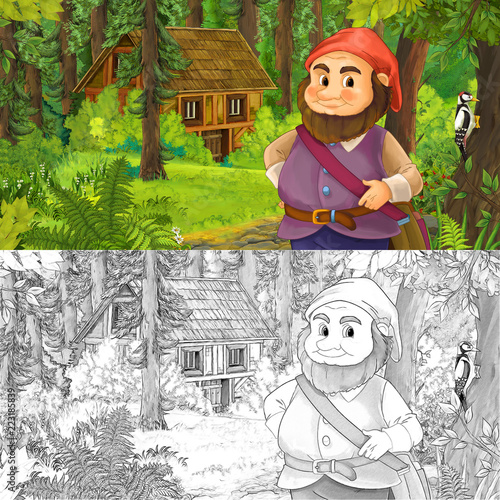 cartoon scene with man fantasy dwarf in the forest near hidden wooden house - with artistic coloring page - illustration for children - 223185839