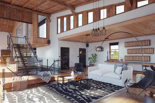 modern chalet interior. - 223186610