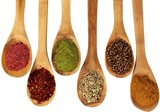Spices On Wooden Spoons - Isolated - 223194012