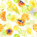 Seamless pattern with abstract tropical fruits. Watercolor stains and shapes. Bright summer colors of mango and citrus fruits. - 223197451