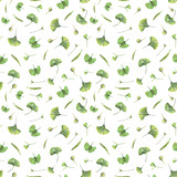 Seamless pattern with green leaves of ginkgo biloba. Hand drawn illustration with colored pencils. Botanical natural design for textiles, interior or some background. - 223197619