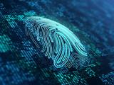 Fingerprint on the digital surface. 3d illustration. - 223206449