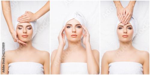 Kolaż z młodą i zdrową kobietą relaksuje w zdroju salonie. Dziewczyna dostaje tradycyjną orientalną terapię aromatem i zabiegi masażu.