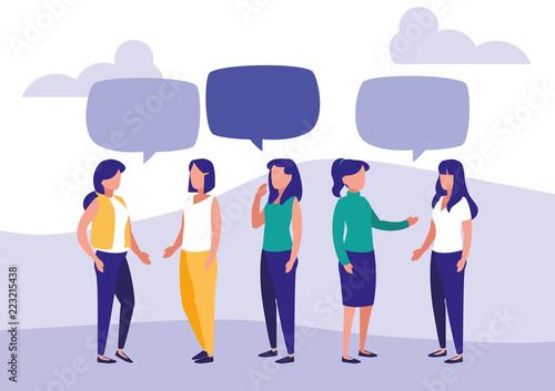 grupa kobiet mówić znaków