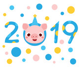 2019 new year banner with cartoon pig face, symbol of chinese holiday. vector illustration for calendars and greetings cards