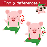 Find the differences educational children game. Kids activity sheet with new year pig