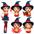 Halloween witch girl with four different face expression and actions