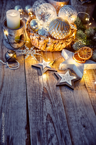 Foto Murales Christmas decoration for tree New year greeting card at old