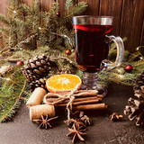 Aromatic mulled wine square background - 223222260