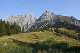 Meadow and hut in front of Admonter Reichenstein, Gesause National Park, Austria