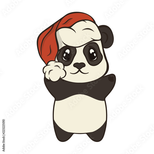 Cute Christmas cartoon panda bear character in Santa\'s hat with ...