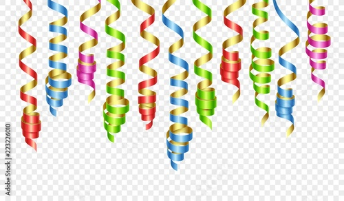 Party decorations color streamers or curling party ribbons. Vector illustration