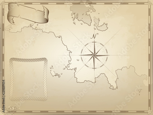 old nautical chart on yellowed paper. twisted ribbon and rope frame for your text. the image of the compass © pal1983