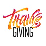 Lettering Thanksgiving Paint Texture Hand Drawn Illustration Isolated on White Background. Vector illustration - 223227832