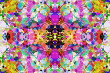 Multicolored Kaleidoscope bubbles abstract background.