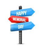 happy memorial day us multiple destination color street sign - 223228656
