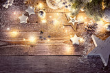 Christmas decoration in vintage style at old wooden board - 223232014