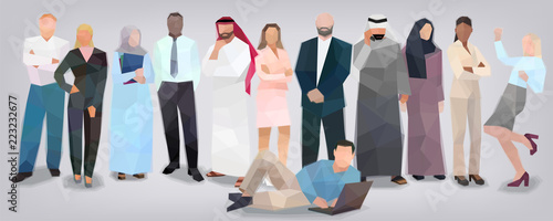 Business people of different nationalities styling facets volume vector - 223232677