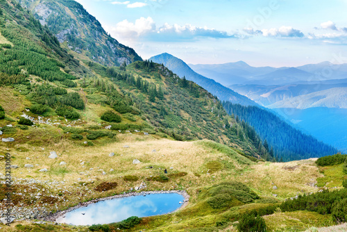 Blue lake in the mountains with green grass - 223233009