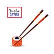 Vector sushi with chopsticks - black caviar, salmon, rice