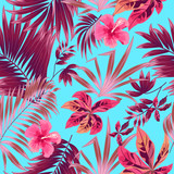 Seamless pattern of exotic jungle plant tropical palm leaves, floral vector. - 223238624