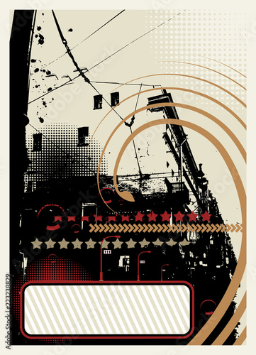 Grunge abstract city background with halftone elements.  - 223238829