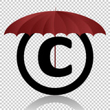 Copyright symbol protection isolated on transparent background. Black symbol for your design. Vector illustration, easy to edit. - 223239265