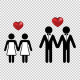 Couple or two homo lovers icon simple with a vector heart love silhouettes. Wedding marriage of lesbians or gays. - 223239280
