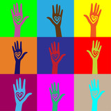 People hand like heart united seamless background. - 223239299